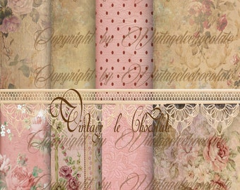 Digital Shabby Paper, Digital Lace Pink Rose Shabby Chic Paper, Shabby Rose Digital Scrapbook Paper, Printable Download. No. p27