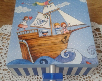 Ship Ahoy Pirate Decoupage Boys Box
