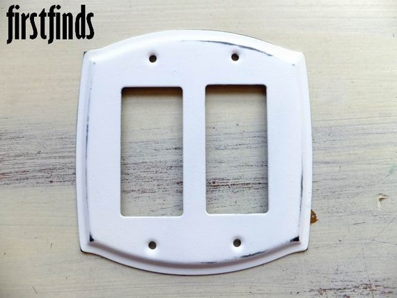 GFI Double Rocker Switch Plate Designed Shabby Chic by
