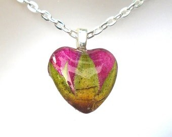 Real Red Rose Bud  Pressed Flower Small Heart Glass Pendant Necklace