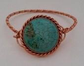 Magnesite and copper bracelet