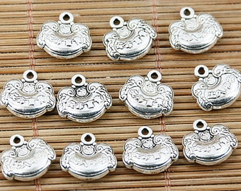 24pcs tibetan silver tone Chinese longevity lock design charms EF1584