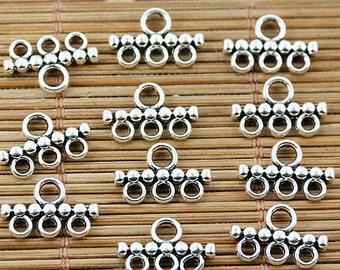 80PCS Tibetan silver 3 holes connectors EF1608