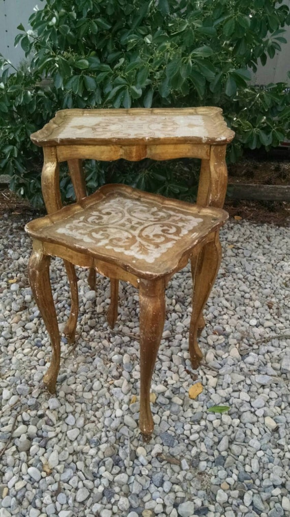 Gold Nesting Tables ~ Vintage gold nesting tablesitaly tablesgold florentine