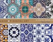 Digital Paper - Tavira Tiles - Printable Digital Sheets Portugal Tile Azulejos for Scrapbooking, Papercraft, Decoupage, Cards, Invites...
