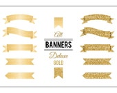 Banner Clip Art 'Deluxe Gold' Golden Glitter Digital Clipart for Party Invitations, Card Making, Scrapbook, Projects, Stickers...