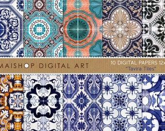 Digital Paper 'Tavira Tiles' Printable Scrapbooking Papers Portugal Azulejos for Paper Crafts, Decoupage, Cards, Invitations...