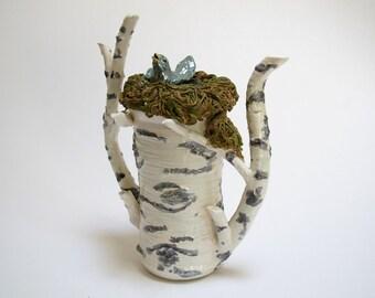 Bird Tea Pot, Birtch Tea Pot, Bird, Hand Made Tea Pot, Whimiscal Tea Pot