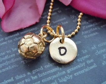 Gold Soccer Ball Charms Personalized Jewelry Necklace Hand Stamp Jersery Number Soccer Jewelry Initial Sports Team Gifts Personalized Charm