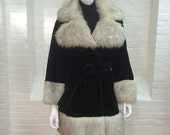 vintage faux fur coat // black with gray and white trim // 1970s