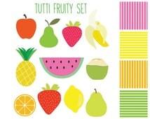 Clipart Sale 60% off, Tutti Fruity Clipart, Digital Design, Fruit Clipart, Kids Clipart, Scrapbooking Supplies, Tutti Fruity Set #051