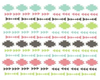 Clipart Sale 60% off, Doodle Tribal Border, Digital Design, Tribal Clipart, Scrapbooking Supplies, Doodle Design, Border Set #031