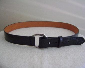 Vintage 1995 New Black Leather Belt XL