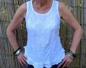 Linen top, White linen top, Summer top, Linen clothing, Handmade, Pintucks, Natural fibre, Camisole, Shell top, Sleeveless top.