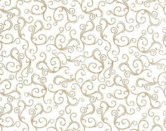 "Quality WHITE Fabric with GOLD CHRISTMAS Swirl motif - 100% Cotton  54"" Wide - dressmaking and decorations - sold by metre or fat quarters"