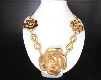 Tudor Roses Statement Necklace Gold Plated Matte Gold 19 - 21.5 Inches