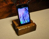 Wood iphone Ipad Tablet Stand Dock , Thick Pine, for Kitchen or Office also Charging Station FREE SHIPPING