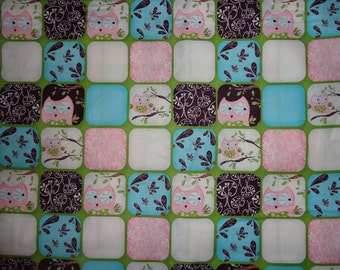 Pink/Green/Brown Blocked Owl Cotton Fabric by the Yard
