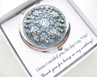 """NINE Bridesmaid Gifts Set of 9 Custom Compacts with gift boxes and """"Thank  you for being in my wedding"""" embossed cards"""