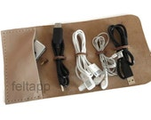 Leather Cord Organizer with Pocket, Cord Holder, Cable Organizer, Cord Roll, Cable Holder, Travel Roll Up Case, Earbud Cord Keeper
