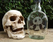 Skull and Crossbones Hand-Etched on Hooch Bottle Glass Flask