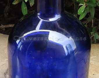 Large Cobalt Blue Candle Holder Tea Light Hurricane Lamp Lantern Made From a Skyy Vodka Bottle