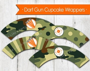 Dart Gun Themed Cupcake Wrappers - Instant Download