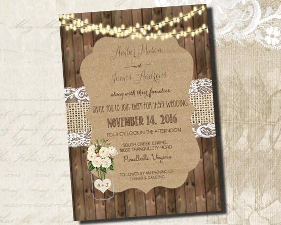 Rustikale Hochzeitseinladung Rustic Hochzeit Einladung _1231, Einladungs