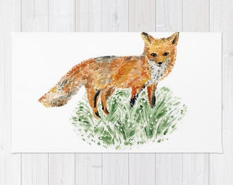 Fox Area Rug, woodland rug, nursery rug, modern area rug, minimal rug, fox nursery, fox home decor, fox rug, nursery area rug, forest rug