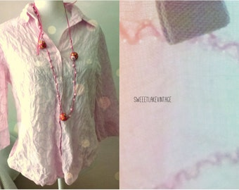 pink blouse - size 42(L)- embroidered pastel top