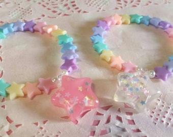 Rainbow Super Star bracelet - Kawaii decora