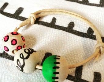 3 Bead friendship bracelet Handpainted Neon