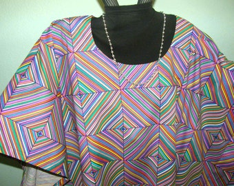 LOVELY LAVENDER / PURPLE Mexican Motif Tunic for Plus Size or Full Figures -- Geometric pattern w/ pink green, yellow, lavender, purple