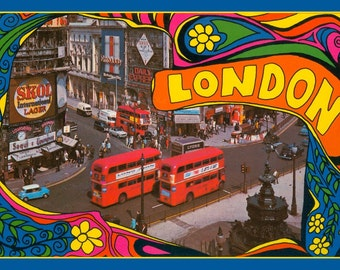 Fridge Magnet vintage postcard Swinging London 1960's, downtown scene,