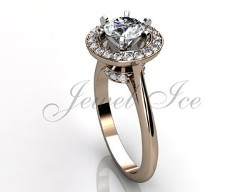 14k rose gold diamond engagement ring, bridal ring, wedding ring, anniversary ring ER-1027-3