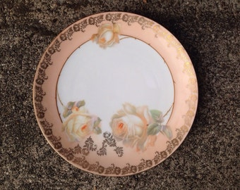 "Peach Roses R S Germany 8"" Luncheon Plate Gold Gilt Rim Hand Painted"