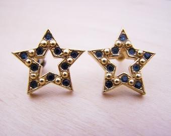 Vintage Avon Gold Tone Blue Rhinestone Star Post Earrings / Gift for Her / M267