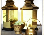 vintage brass canister lamps pair of 2 glam hexagon shaped