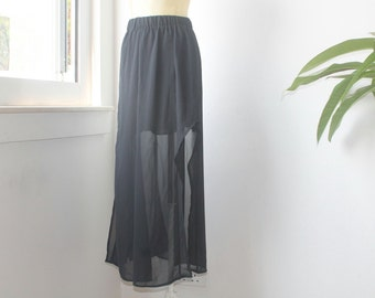 Hi Lo Skirt, Black Chiffon Skirt, Assymetrical Skirt, Vintage