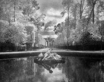 Black And White Versaillies Photography, Infra red Film, Bacchus Fountain, Fine Art Photography