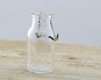Silver Tone Crane Hook Earrings