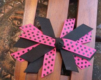 Pink & black polka-dot stacked bow
