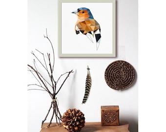 L64 - Chaffinch - Bird art print - Modern art - Geometric - Wall decor - Nature art