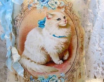 CAT Pillow, Kitten Pillow, Blue Roses, Shabby Cat Pillow, Kitten Decor, Shabby Kitten Pillow, PRETTY!!!  #C25