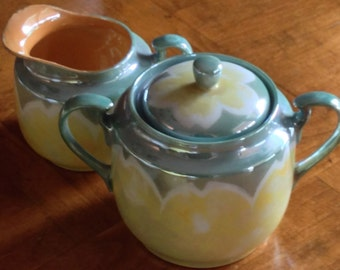 Moriyama Lusterware - Green and Yellow Cream and Sugar Set