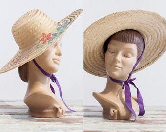 40s Sicily Stroll Hat • 1940s straw hat