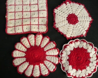 Four Red And White Crocheted Pot Holders