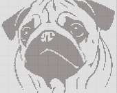 Pug Silhouette Small Cross Stitch Pattern 1 Color Easy PDF Pattern