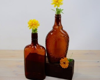 Amber Bottles, Apothecary Brown, Industrial Decor, Beer Pints