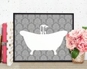 Bathtub Silhouette Art Print - Modern Bathroom Decor - Gray Damask Bath Tub Relax - Light Gray White - SKU: 111-G
